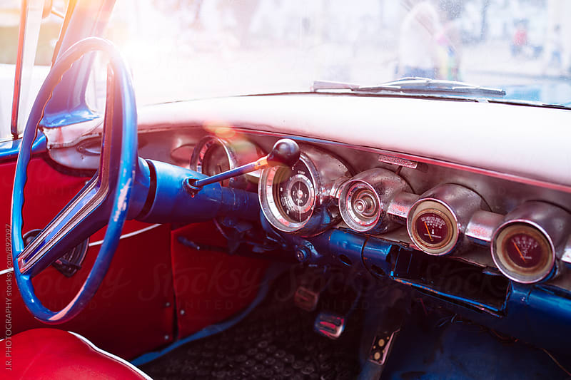 Interior of old vintage american classic car, Havana, Cuba by J.R. PHOTOGRAPHY for Stocksy United
