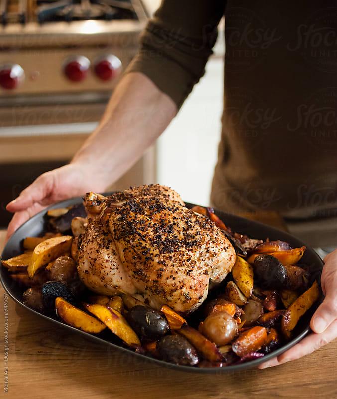 Roast Chicken Dinner by Mental Art + Design for Stocksy United