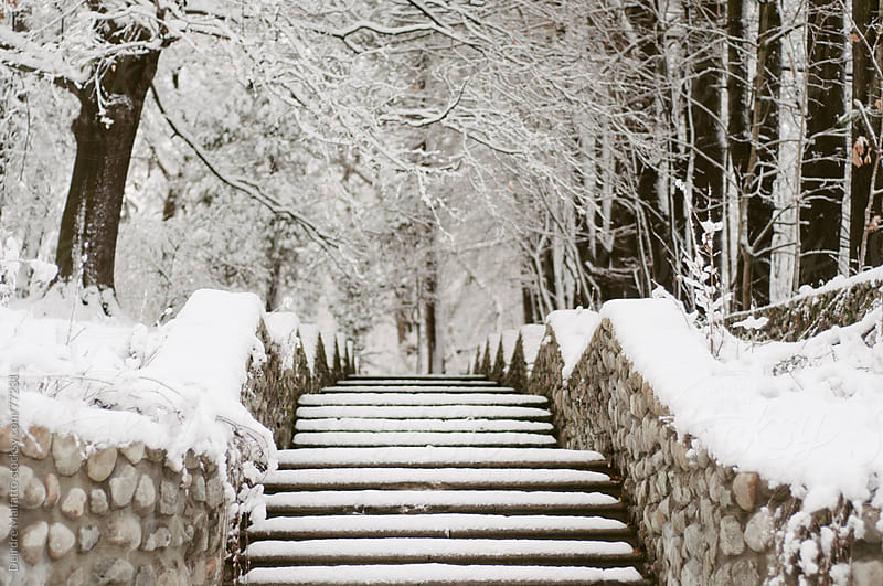 Snowy steps and stone walls by Deirdre Malfatto for Stocksy United