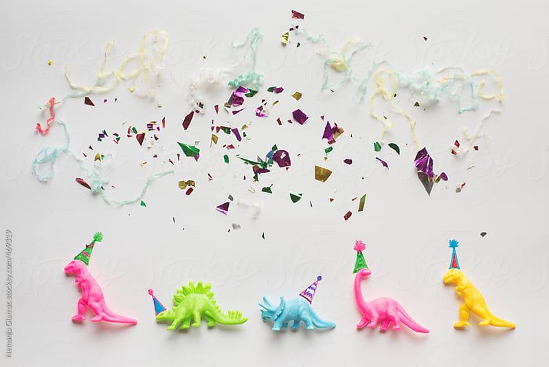 Partysaurs With Drawn Hats Having Good Time by Nemanja Glumac for Stocksy United