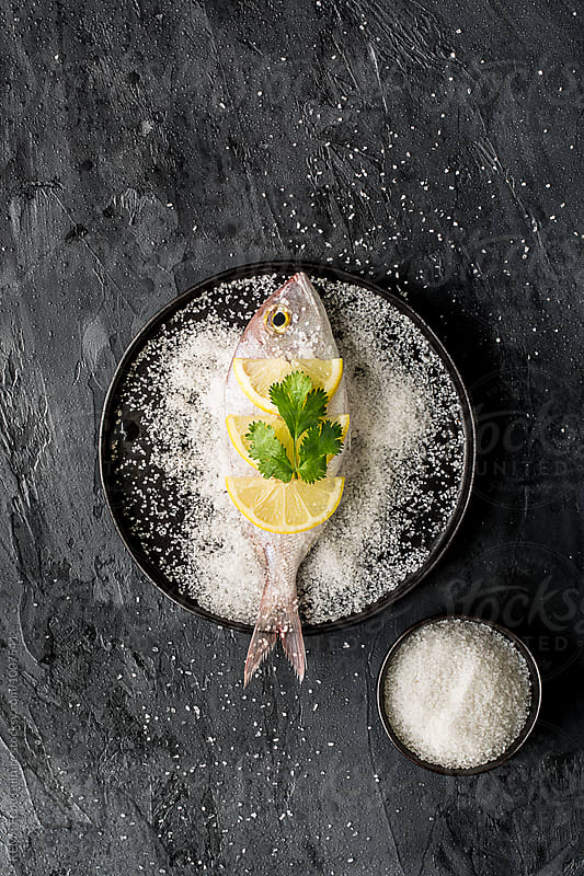 Sea bream on a plate with salt by KEMA Food Culture for Stocksy United