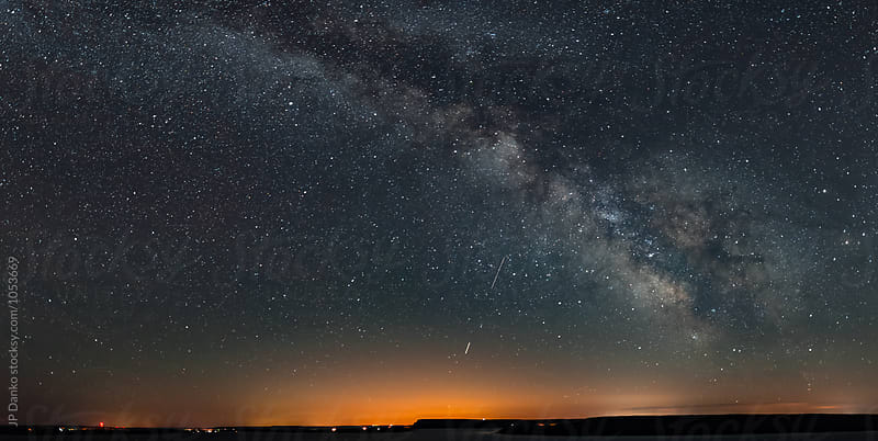 Milky Way Galactic Centre Panorama With Town Light Pollution by JP Danko for Stocksy United