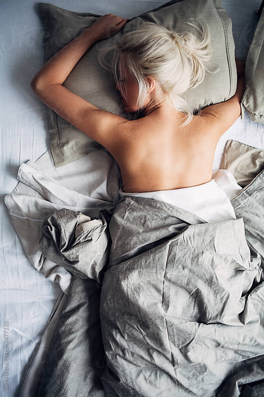 Beautiful Blonde Woman Sleeping in Bed by Lumina for Stocksy United