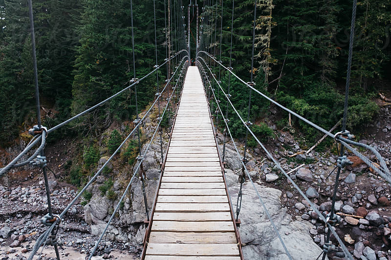 suspension bridge on wonderland trail  by Jesse Morrow for Stocksy United