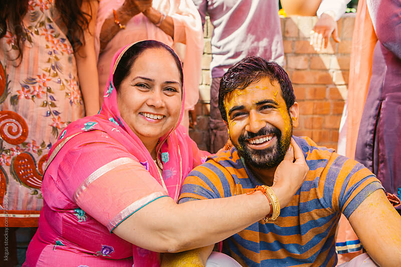 Mother and Bridegroom during the Mayian (turmeric) ceremony by kkgas for Stocksy United