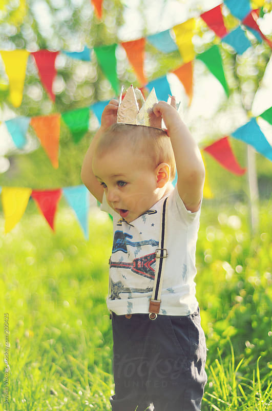 baby boy celebrating birthday by Jovana Vukotic for Stocksy United