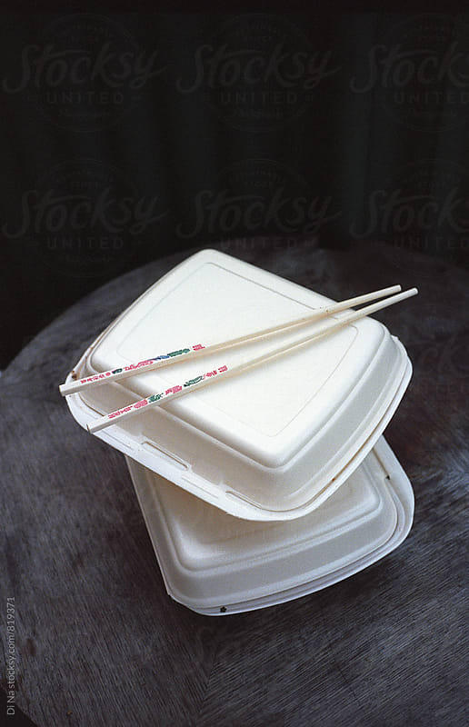 Takeaway food containers with chopstick by Dina Lun for Stocksy United