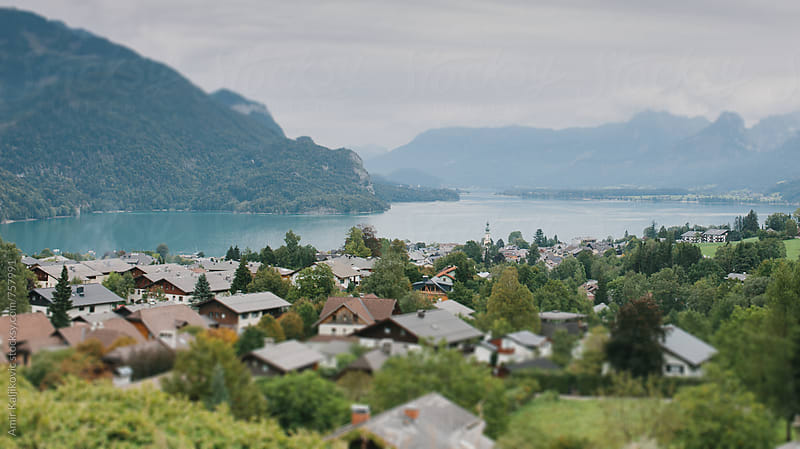 View over St. Gilgen at Wolfgangsee by Amir Kaljikovic for Stocksy United
