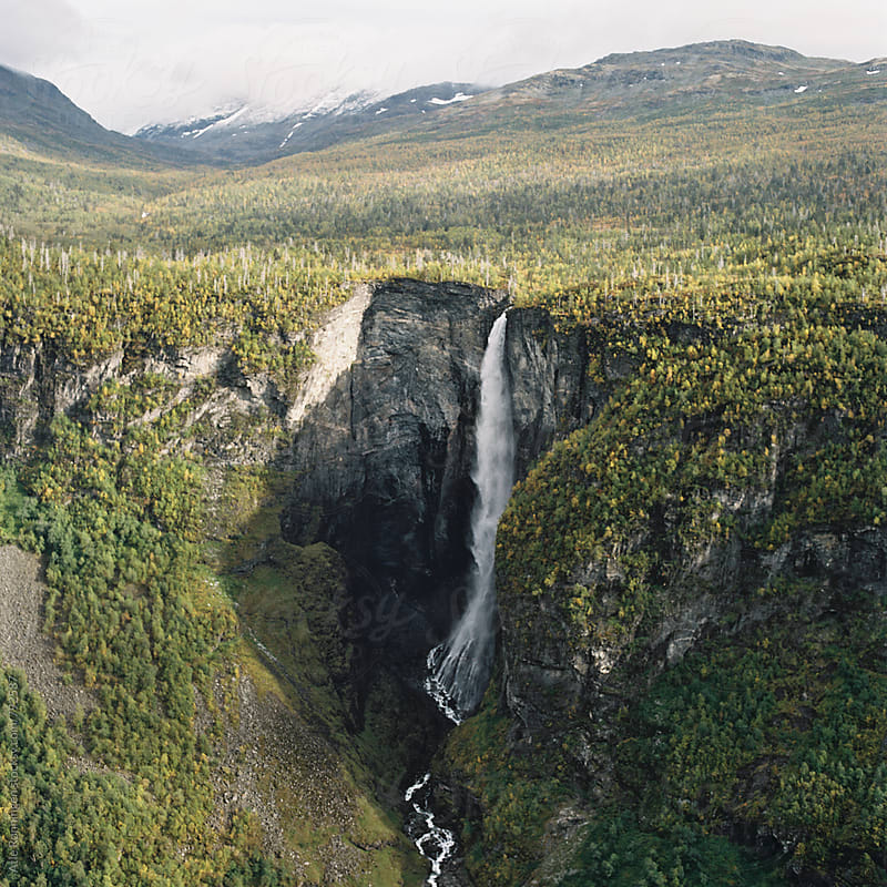 View to Vettisfossen waterfall in Utladalen valley in Norway by Atle Rønningen for Stocksy United