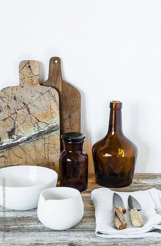 Collection of ceramics on a table by KEMA Food Culture for Stocksy United