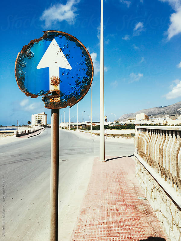 Seaside Rusty Ahead Only Traffic Sign by Julien L. Balmer for Stocksy United
