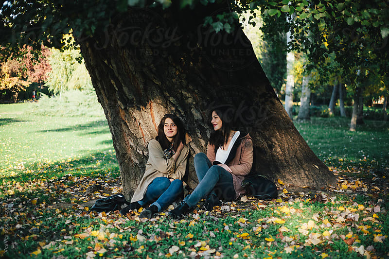 Two beautiful female friends sitting below the tree in the park by VeaVea for Stocksy United