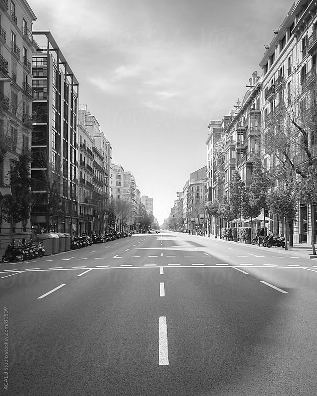 Deserted streets in Barcelona for a manifestation by ACALU Studio for Stocksy United