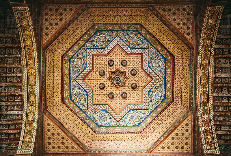 Pattern decorated ceiling in Bahia Palace. Marrakech, Morocco by Alejandro Moreno de Carlos for Stocksy United