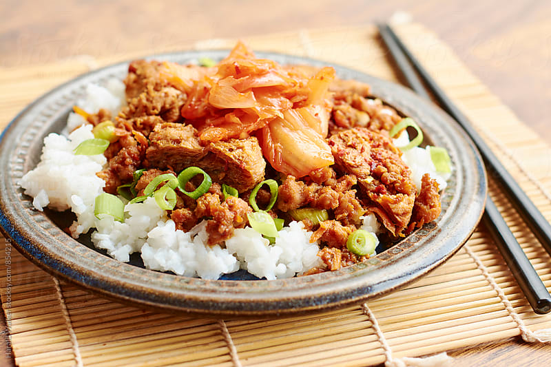Korean Bulgogi with Kimchi on Rice (vegan version) by Harald Walker for Stocksy United