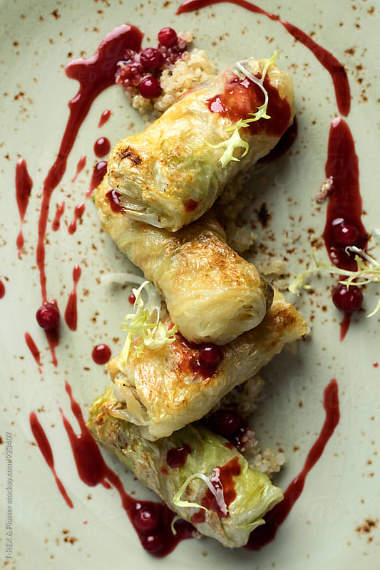 Stuffed cabbage with cranberry sauce by T-REX & Flower for Stocksy United