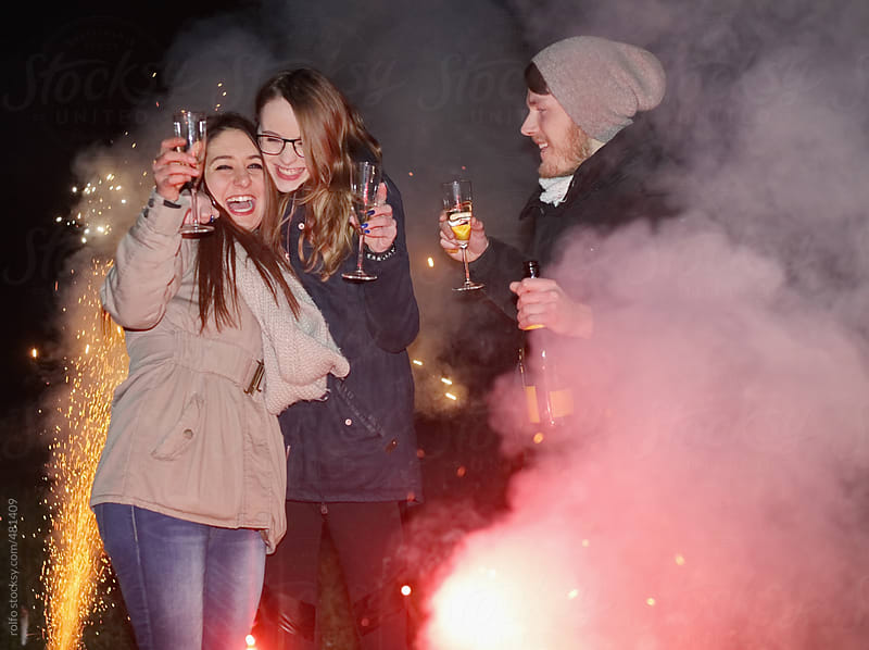 party people fire new years eve by rolfo for Stocksy United