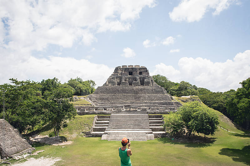 Man Taking Photo of Mayan Temple with Phone by MEGHAN PINSONNEAULT for Stocksy United