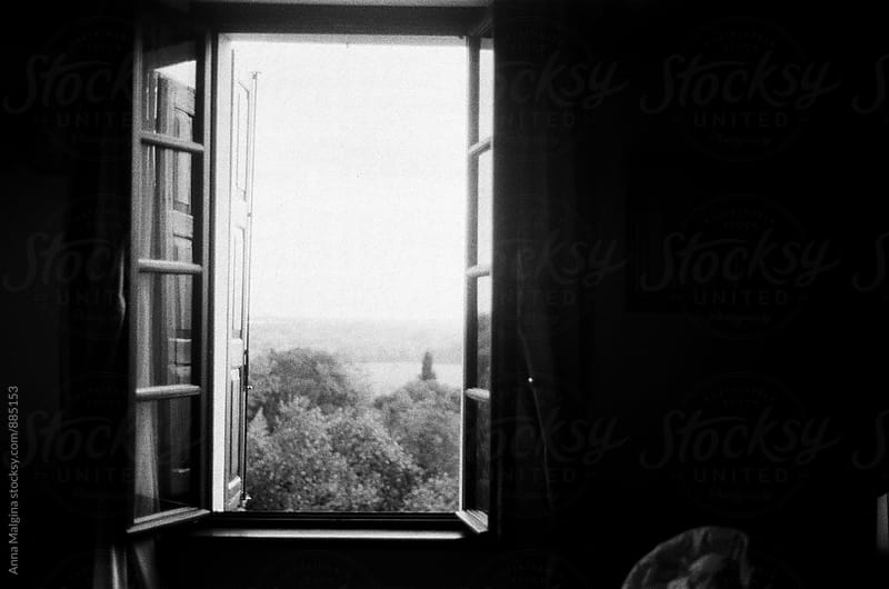 A black and white film photo of a window view  by Anna Malgina for Stocksy United