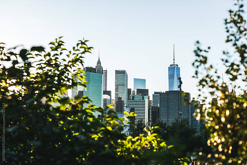 Views of Manhattan financial district from Brooklyn. by BONNINSTUDIO for Stocksy United