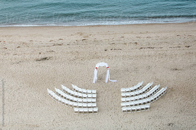 Empty rows of chairs setup before wedding by Matthew Spaulding for Stocksy United