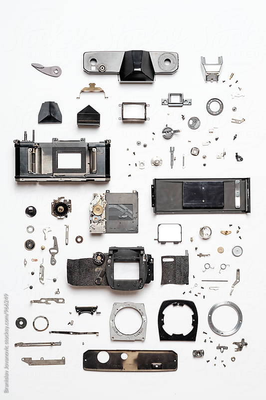 Neatly Organized Pieces of Analog Camera by Branislav Jovanović for Stocksy United