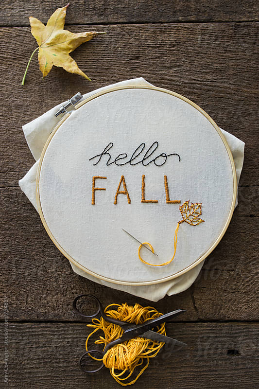 Hello fall needlepoint by Amy Covington for Stocksy United