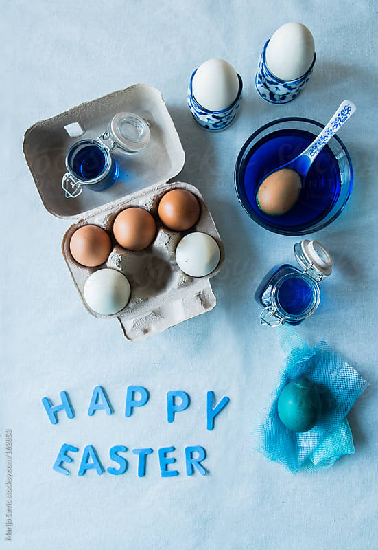 Blue Colored Easter eggs set by Marija Savic for Stocksy United