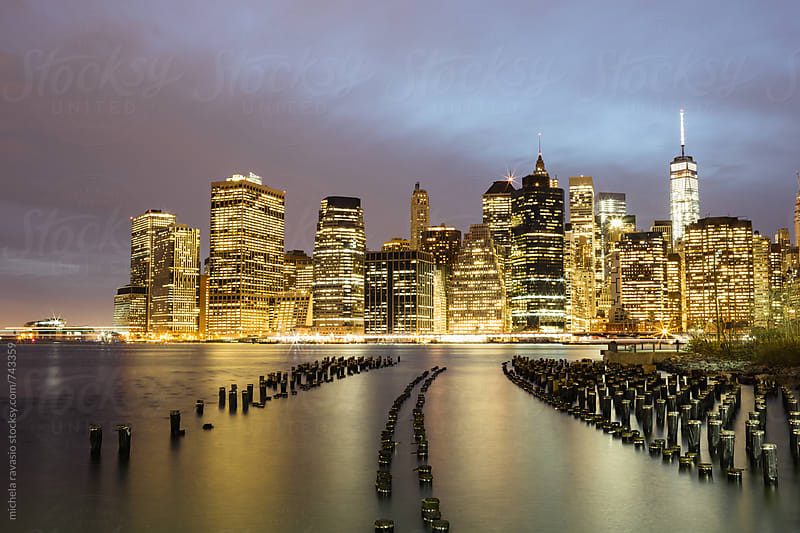 Night view of Manhattan, New York City by michela ravasio for Stocksy United