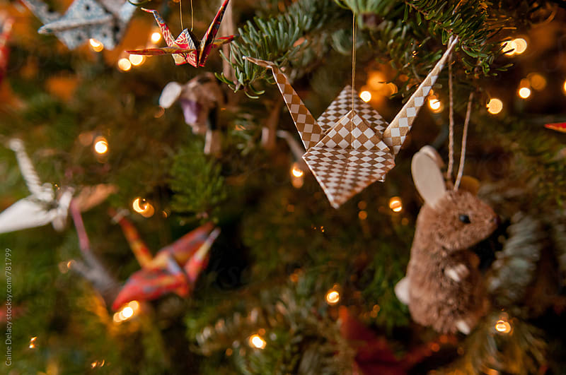Christmas tree paper cranes by Caine Delacy for Stocksy United