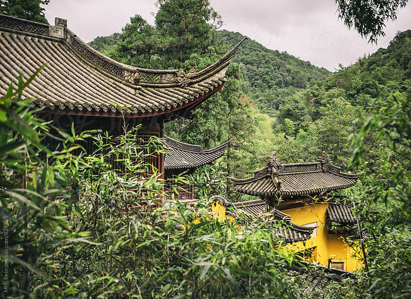 Temple in the woods,wenzhou,china by Miss Rein for Stocksy United