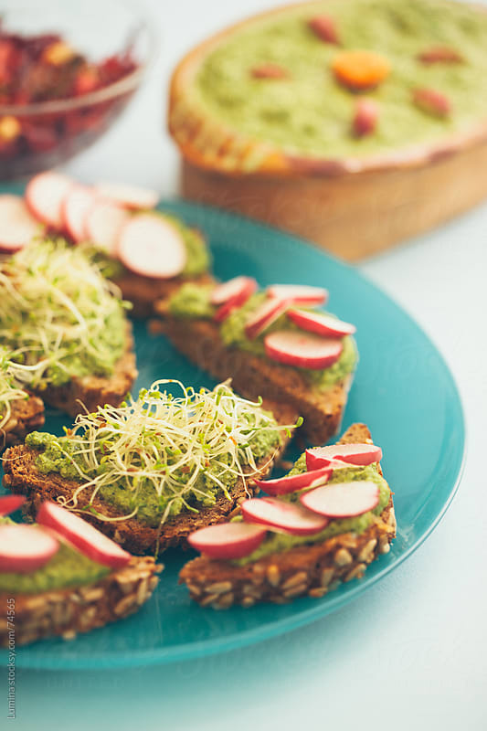 Radish and Sprout Sandwiches by Lumina for Stocksy United