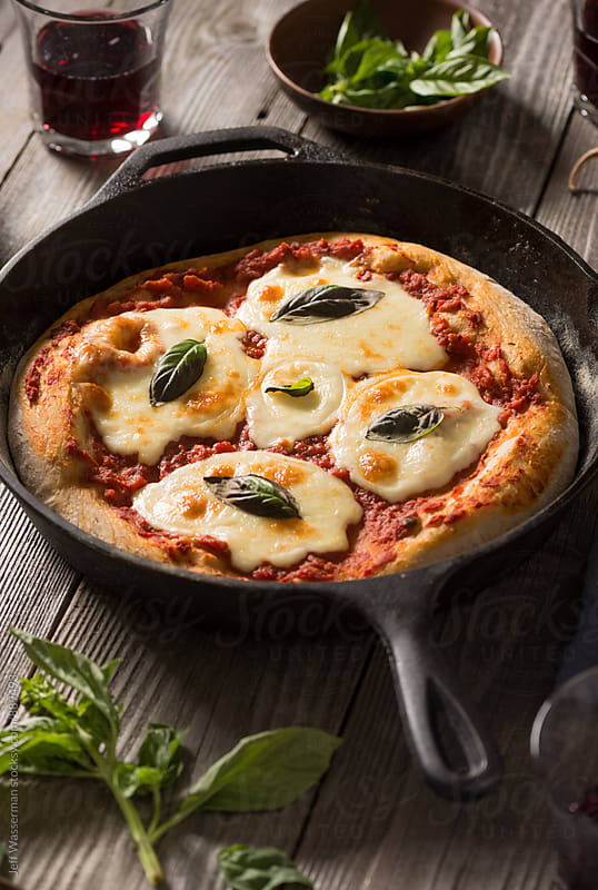 Whole Wheat Skillet Margherita Pizza by Jeff Wasserman for Stocksy United