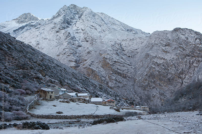 Lodges and hotels in Dole after a night of slight snow. Everest Region, Sagarmatha National Park. by Shikhar Bhattarai for Stocksy United