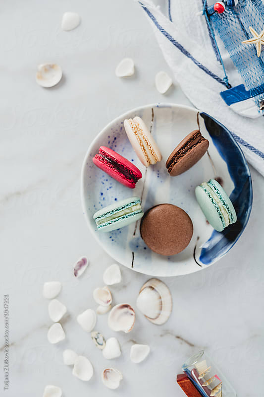 French macarons with summer decoration by Tatjana Zlatkovic for Stocksy United