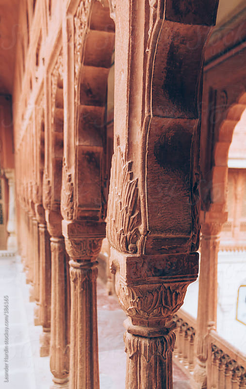 ancient pillars with indian ornaments by Leander Nardin for Stocksy United