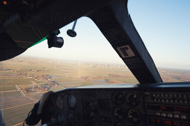 Aerial view from Cessna cockpit on rural scene in northern Germany by Urs Siedentop & Co for Stocksy United