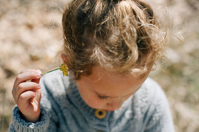 A close-up of a little girl on a nature walk holding a flower by Meaghan Curry for Stocksy United