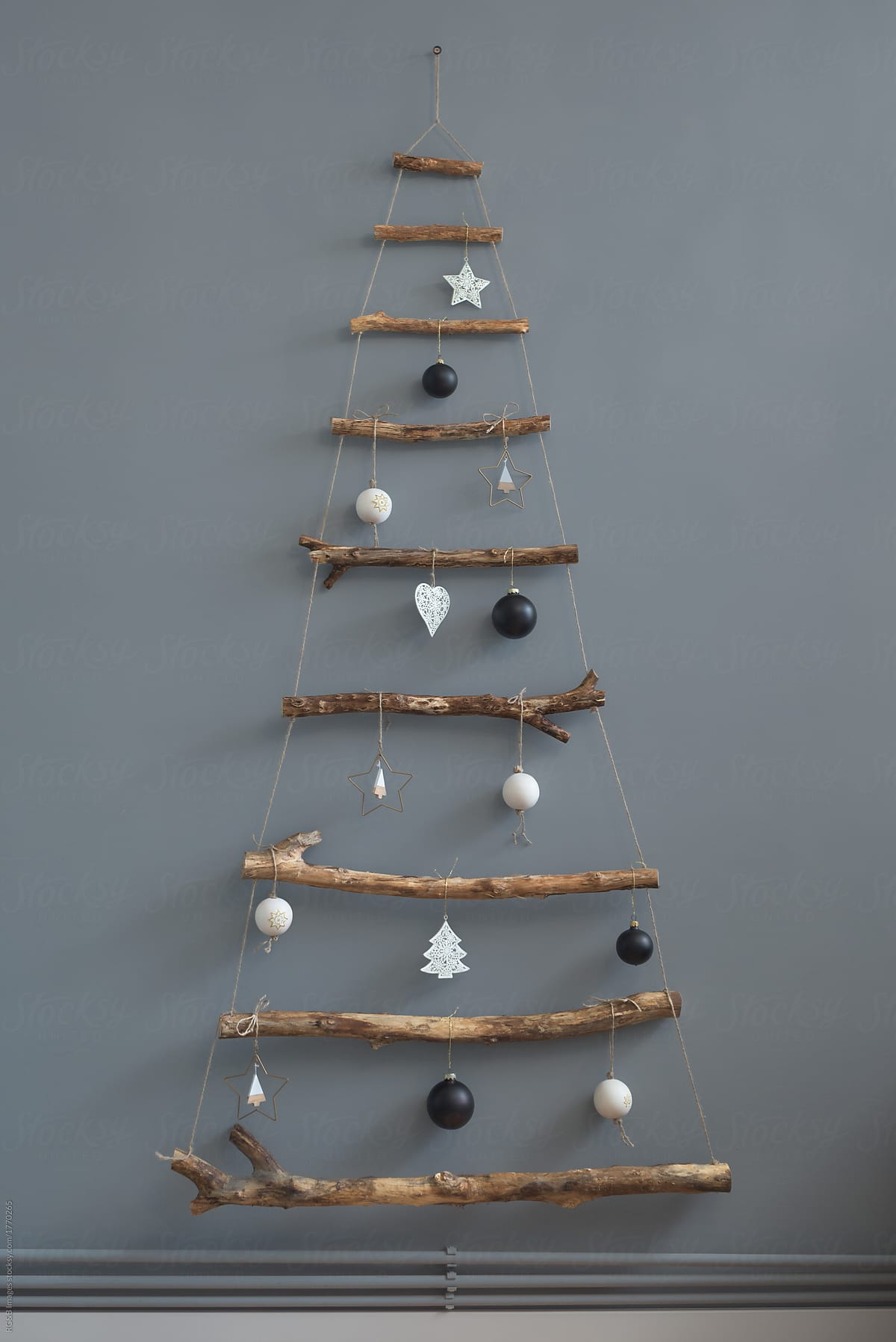 Stock Photo Minimal Handmade Christmas Tree By The Wall Indoor