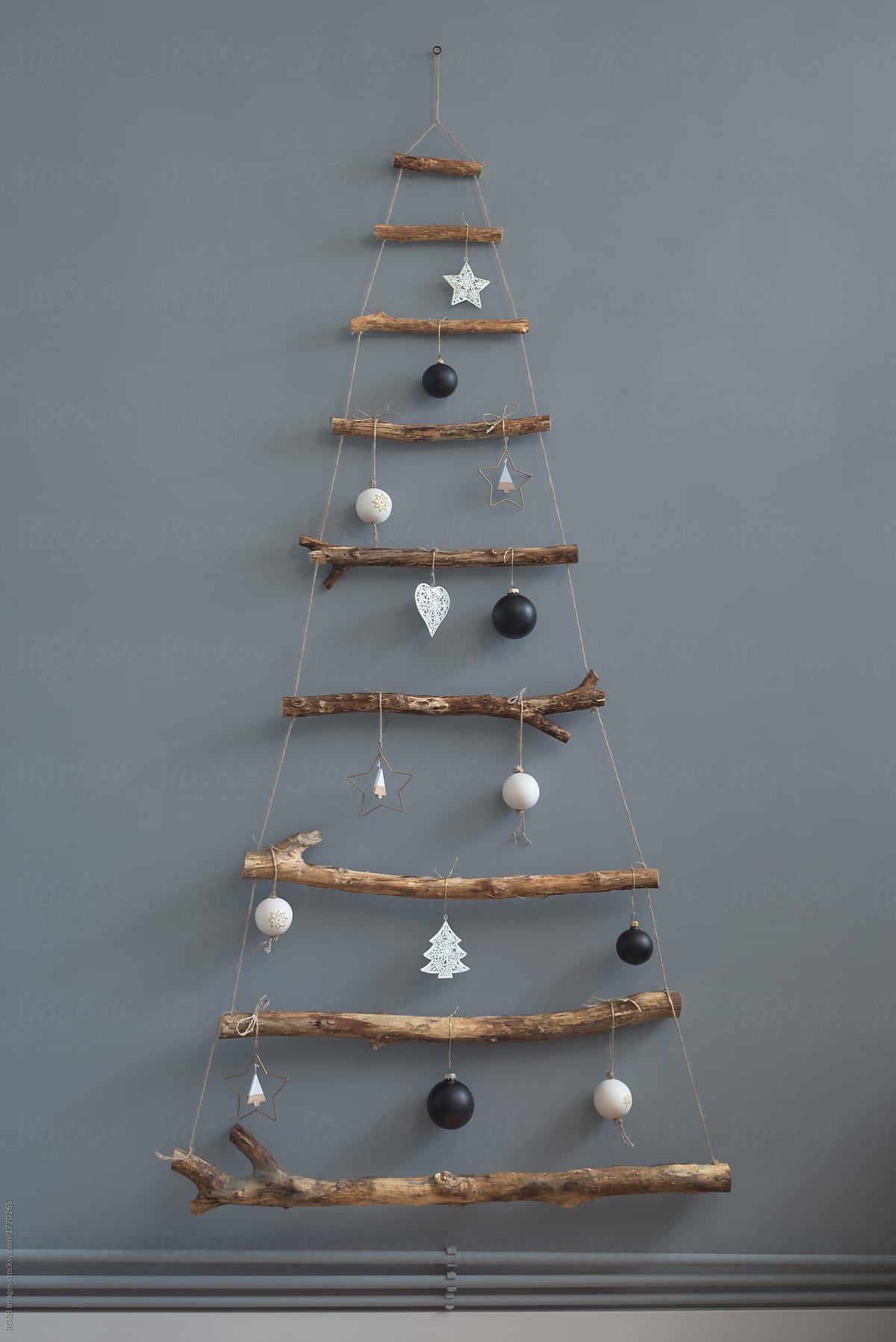 Stock Photo Minimal Handmade Christmas Tree By The Wall Indoor