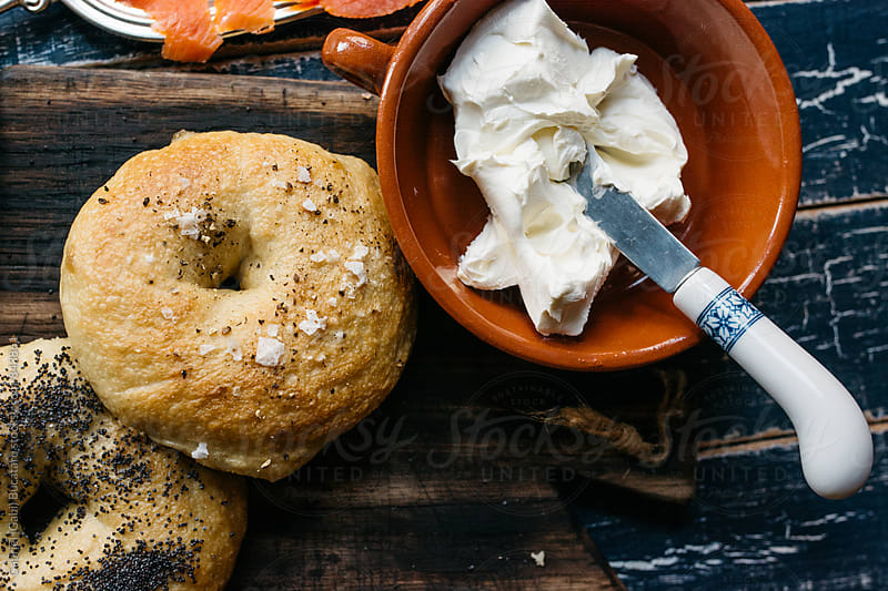 Bagels and cream cheese by Gabriel (Gabi) Bucataru for Stocksy United