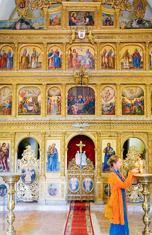 Eastern Europe, Balkans, Montenegro, The Pastrovici Hills near Sveti Stefan, Praskvica Monastery, interior of the Serbian Orthodox Monastery by Gavin Hellier for Stocksy United