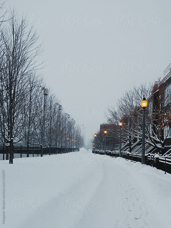 snowy walkway by Margaret Vincent for Stocksy United
