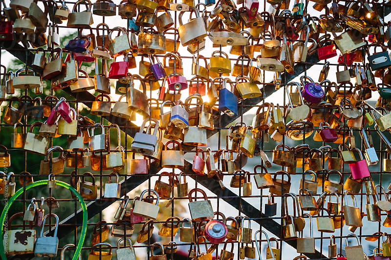 Love locks on the Pont des Arts by Simonfocus for Stocksy United