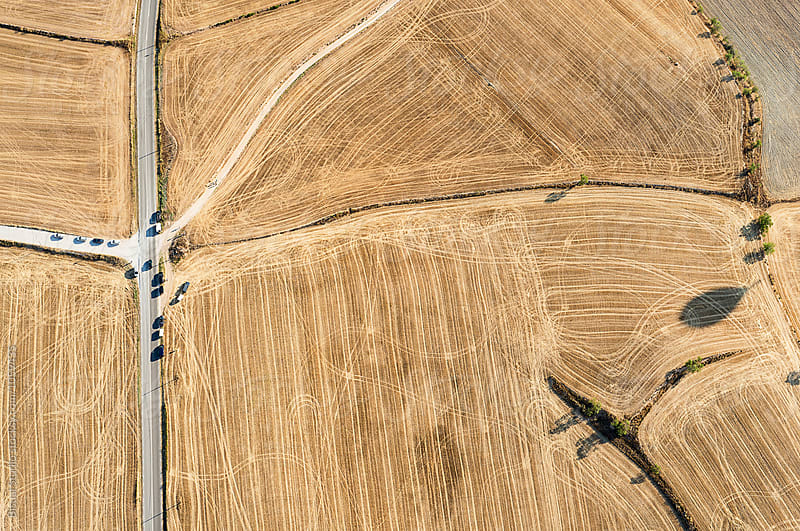 Aerial view of a main road, Spain by Bisual Studio for Stocksy United