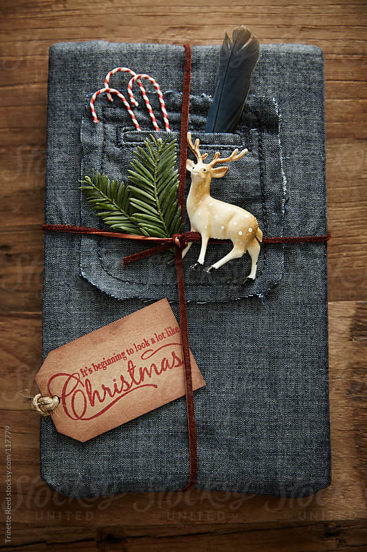 Hipster gift wrapped in denim with leather twine and ornaments  by Trinette Reed for Stocksy United