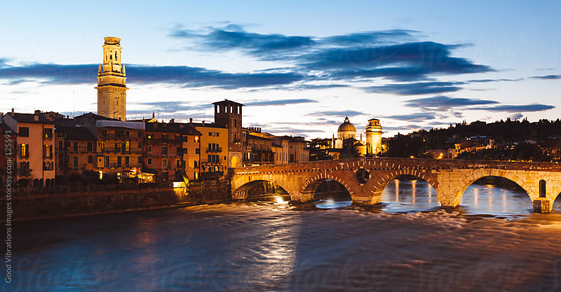 Verona, Adige River by Night by Good Vibrations Images for Stocksy United