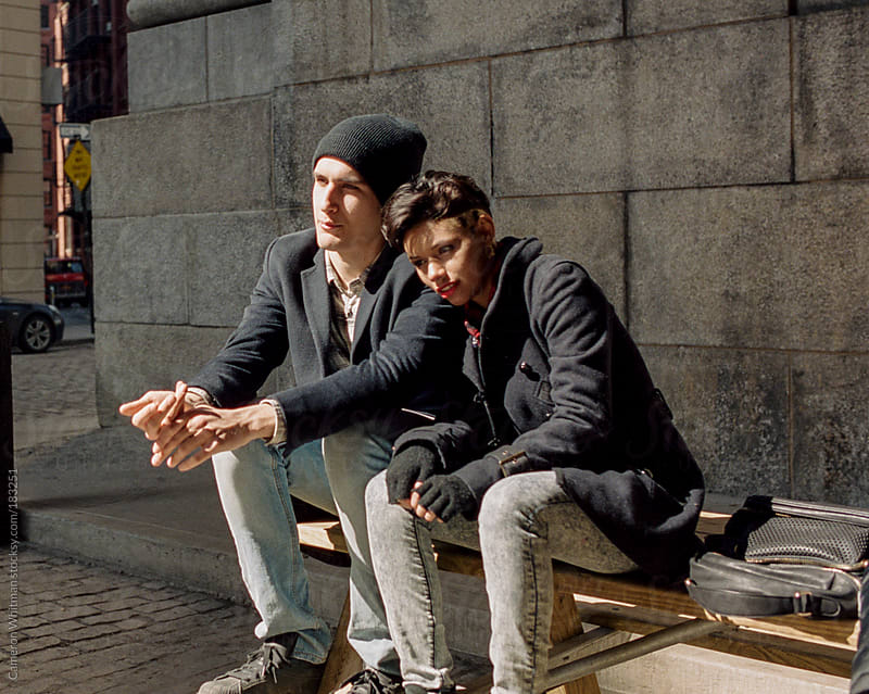 Young hispanic couple in New York City by Cameron Whitman for Stocksy United