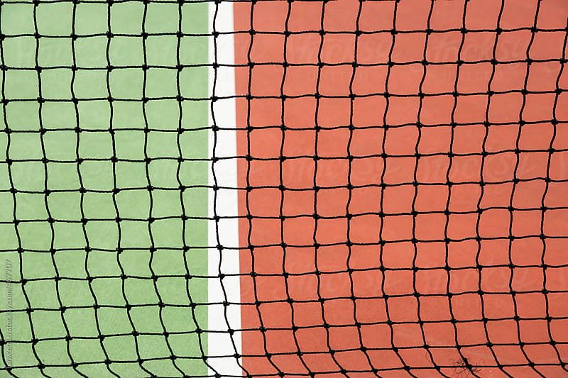 Close Up of Net and Floor of Tennis Court by Lawren Lu for Stocksy United