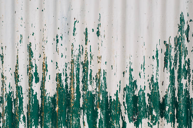 Paint Peeling off Corrugated Background by Nemanja Glumac for Stocksy United